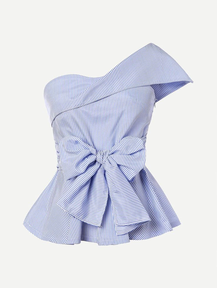 #AdoreWe #ROMWE ROMWE Foldover One Shoulder Bow Front Peplum Top - AdoreWe.com
