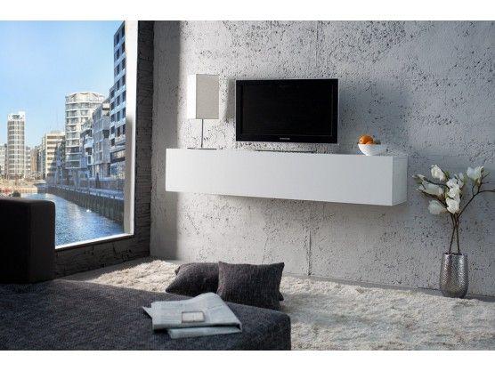 Étagère murale TV design blanche laqué Cubozo
