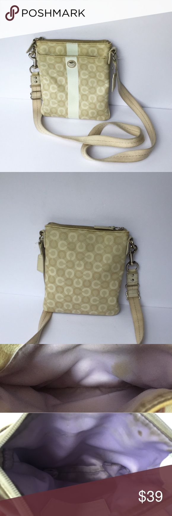 Waverly CC COACH Swingpack A beautiful style with a crossbody strap in a USED condition with signs of removable marks inside the both pockets, also on the handles ends and front white strip which appears like blue . But a beautiful style of bag with lots of life. 0167810768 Coach Bags Crossbody Bags