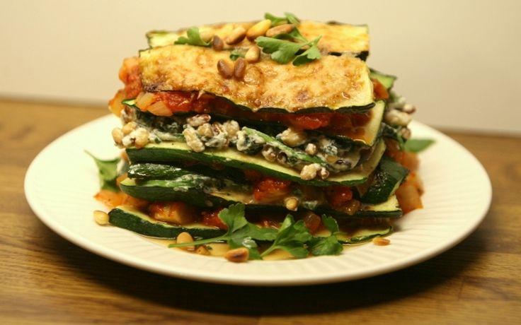 courgettelasagne met spinazie en ricotta