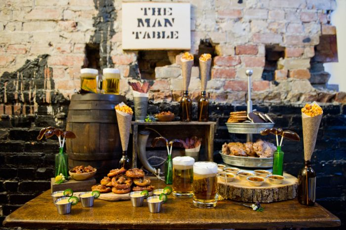 """""""The Man Table"""" a table of treats for men at the wedding.  Genius Idea!"""