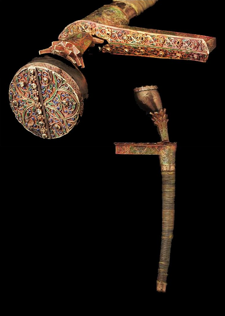 Royal dagger (siwaih) from Aceh; gold, silver gilt, gemstones and enamel. 19th century || Source: 'Gold Jewellery of the Indonesian Archipelago', page 465