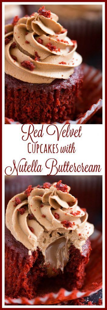 Nutella-filled red velvet cupcakes, topped with thick and fluffy Nutella buttercream!