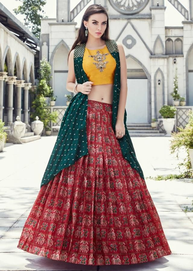 Cherry Red Lehenga In Ikkat Motif Print Matched With Yellow Crop Top Blouse And Rama Green Jacket Online Kalki Fashion Designer Dresses Indian Lehenga Crop Top Choli Blouse Design