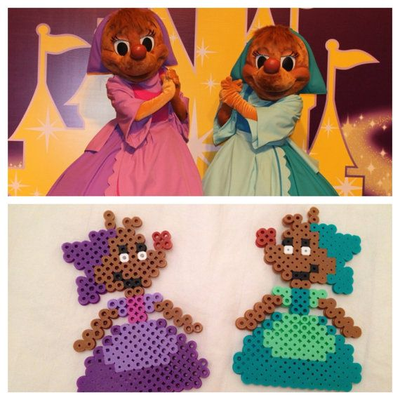Cinderella's Perla & Suzy Mouse perler beads by CrafTCreation13