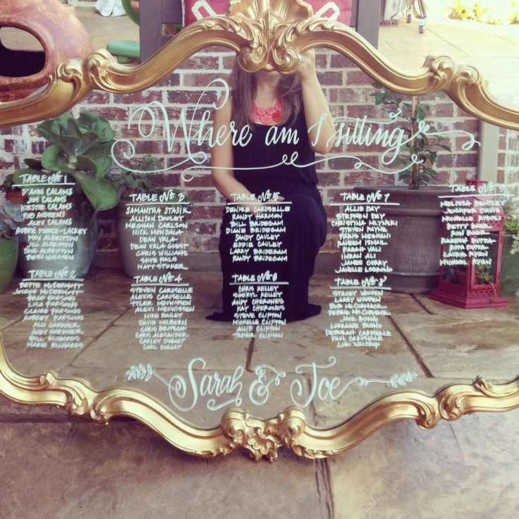 I love the idea of a mirror seating chart! I bought a mirror this weekend in Canton. Not as cool looking as this one, but just as good!