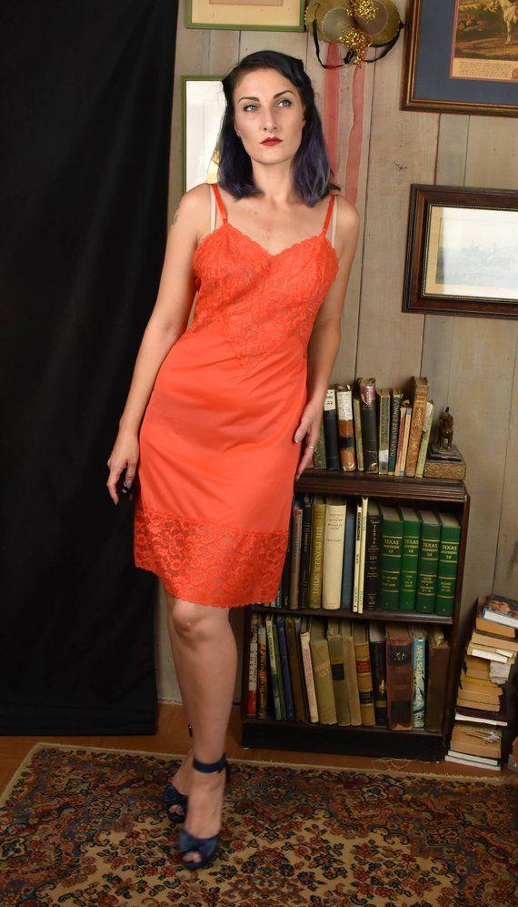 1a120af7efbeb Vintage Full Slip   1950s 50s   Vintage Lace Slip   Nylon Slip   Red Slip    Boudoir Slip   Vintage F