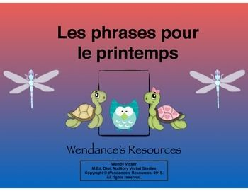 French ActivityThis activity can be used to assess the basic sentence concepts looking at:- capitals- periods- making senseThere are 4 sentences that relate to spring.  Once the students have put the cards in order, the activity can be extended by talking about:- Mother's Day- growth of flowers and trees- insects- the circle of lifeThe sentence can be copied and a picture can be drawn to illustrate.For best results, print the activity in colour and on card stock.