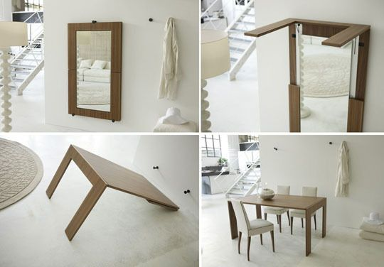 This brilliant table can fold up into a wall-mounted mirror!