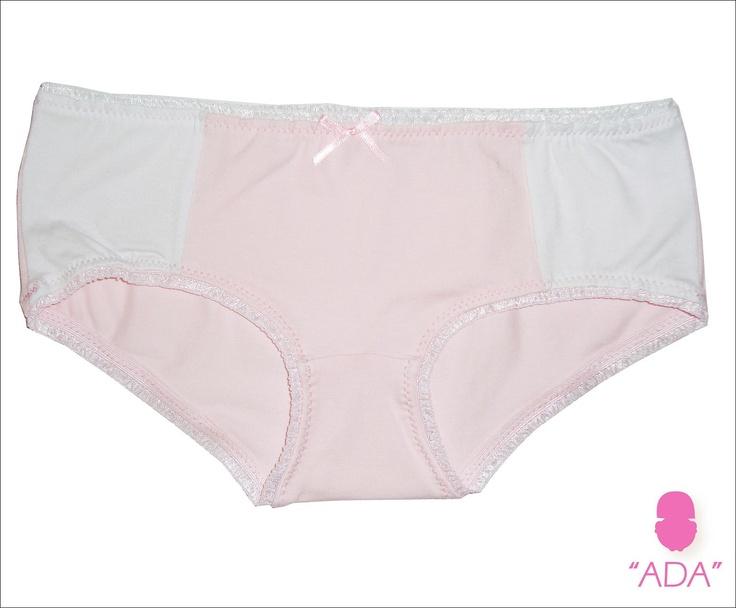 ADA 012 -   Culotte en lycra de algodón combinada en blanco y rosa