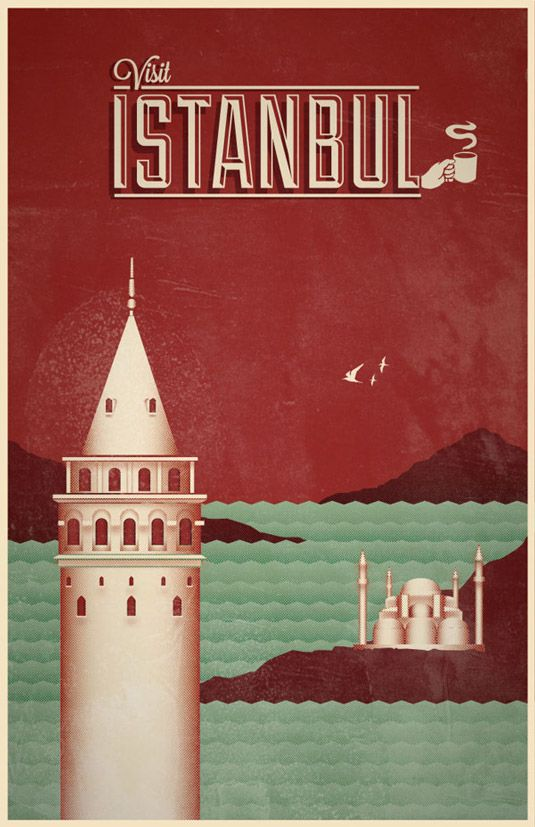 "Travel posters - Istanbul - via Creative Bloq  ""Preserve. Reserve. Serve ~ The life and times of Istanbul at the heart of historical center""  www.armadaistanbul.com www.armadaistanbulculture.com"