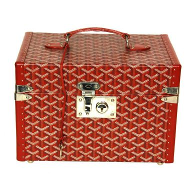 """Goyard Red Hard Toiletries Case (Rt. $3,800)   Materials: leather, silvertone metal Comes with five bottle holders and strap for reinforcement. Also has top insert. Closes with push in lock and key. Small plaque on side reads """"MALLES GOYARD BARNEYS NEW YORK""""  Length: 12.5"""" Height: 8.25"""" Depth: 8.5"""