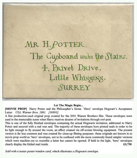 ... Harry Potter Acceptance Letter Envelope Harry Potter And The  Philosopher S Envelope ...