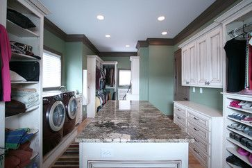 Designer Kitchens and Custom Interiors by Walker Woodworking - traditional - closet - charlotte - Walker Woodworking. Finally! Someone thought to put the washer and dryer in the closet with the clothes! INGENIOUS!