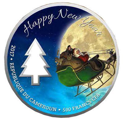 Магия Рождества! Серебряная монета в футляре-рамке 500 франков Камерун 2017 Монетный двор Польши Цена от 2200 грн. Превосходный подарок на Новый Год