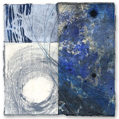 "David Owen Hastings  Sora (sky) II  |  monotype, photoprint, collage, stitching on paper, 12"" x 12"", 2008"