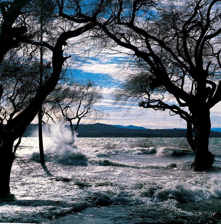 Las aguas del lago Villarrica agitadas por una tempestad de viento