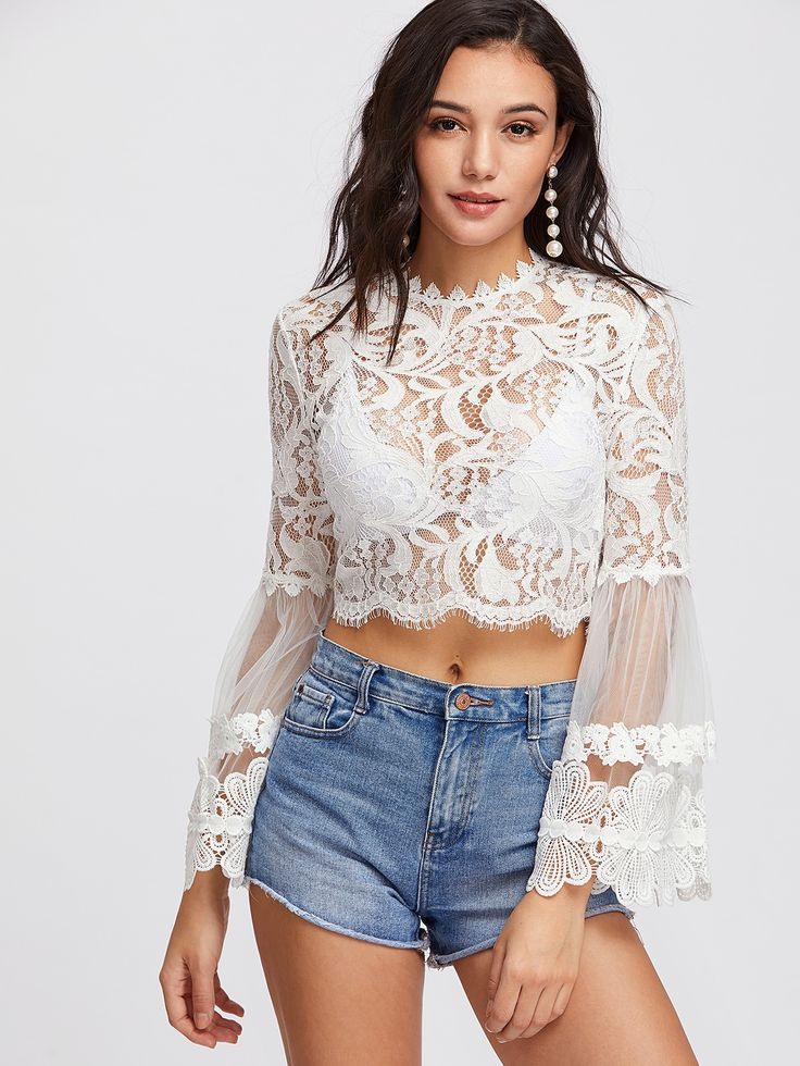 Mesh Fluted Sleeve Scalloped Eyelash Lace Top -SheIn(Sheinside)