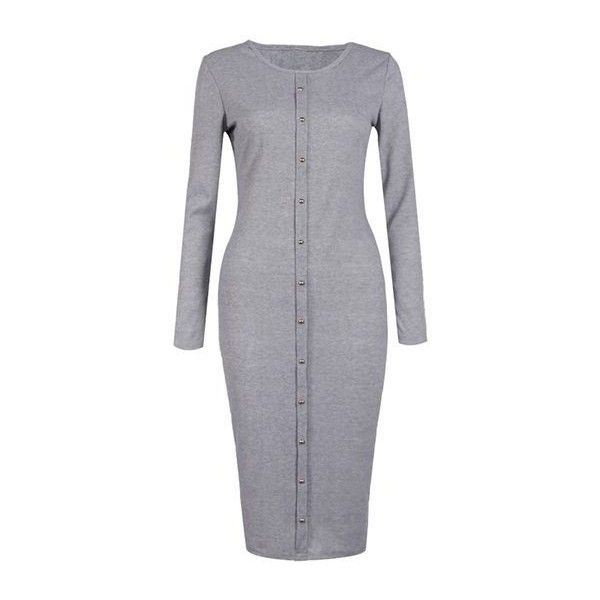 Grey Long Sleeve Button Design Dress ($23) ❤ liked on Polyvore featuring dresses, grey, sleeved dresses, grey sweater dress, grey midi dress, gray sweater dress and gray dress