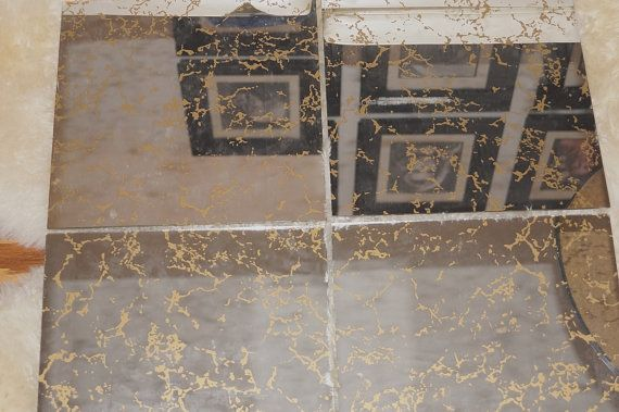 70s Mid Century Modern Gold Veined Glass Mirror Tiles