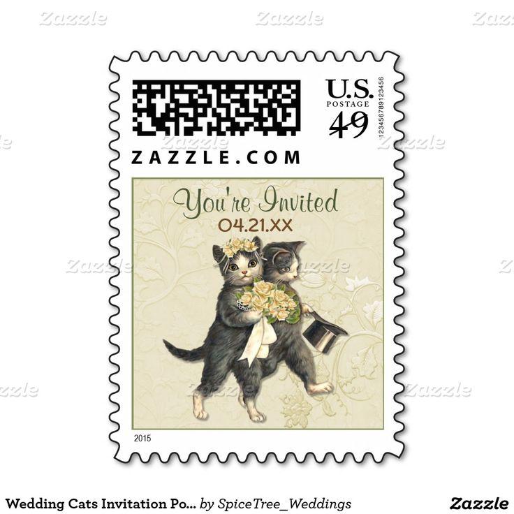 Wedding Cats Invitation Postage