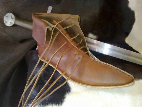 Handmade medieval leather shoes from Maremma
