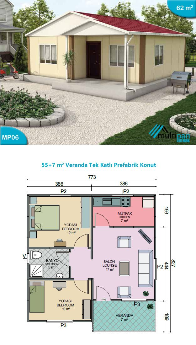 MP6 - 55 Square Meters + 7 Square Meters Lounge 17m2 Kitchen 7m2 Bedroom 1 12m2 Bedroom 2 10m2 Bathroom 5 m2 Veranda 7m2