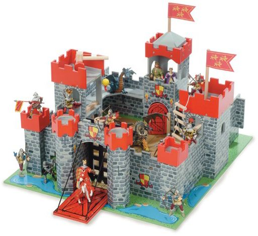 Le Toy Van's Lionheart Castle is our biggest castle. It has seven towers in total, detailed baseboard with moat, wind up drawbridge with portcullis, high walls and 'knock-out' wall - so much medieval fun! #Letoyvan #castle #Christmastoys