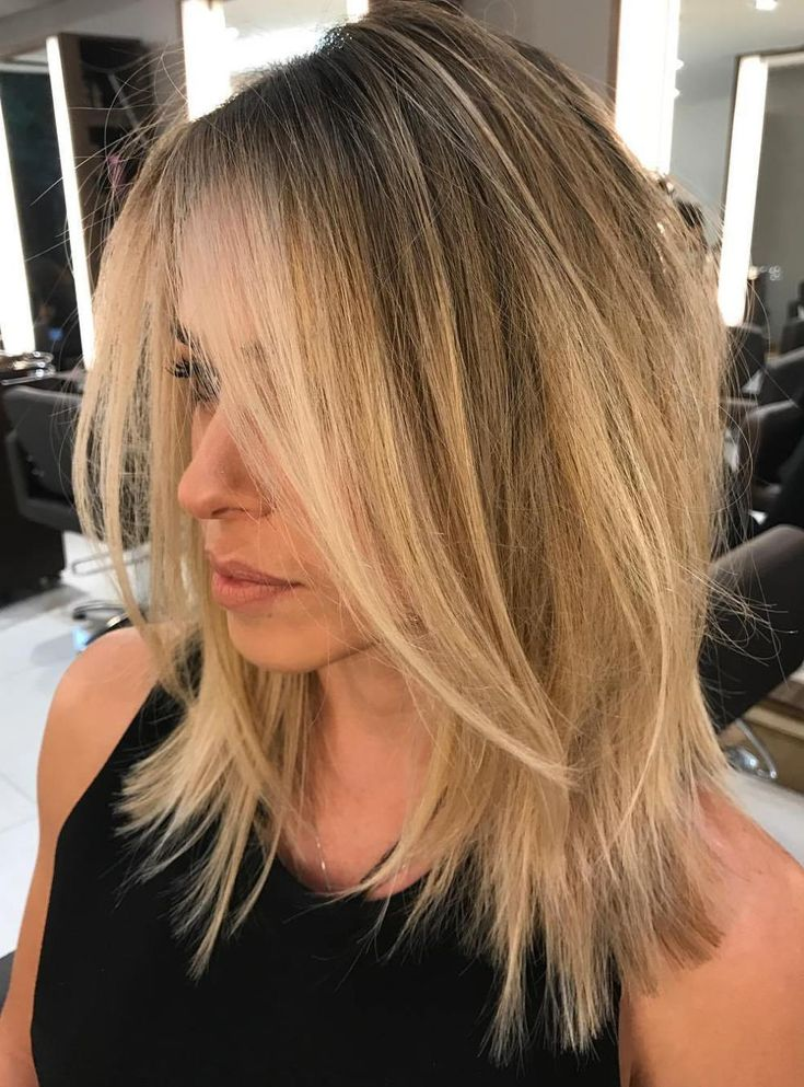 Straight Choppy Honey Blonde Lob