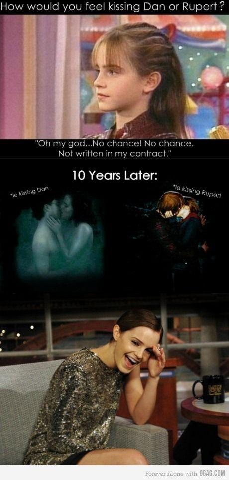 HAHAHAHA: The Kiss, Funny Pictures, Emma Watson, Funny Stuff, Harry Potter, 10 Years, So Funny, Potterhead, Tiny Prints