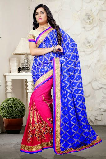 #Blue #Pink Saree With Contrast Blouse