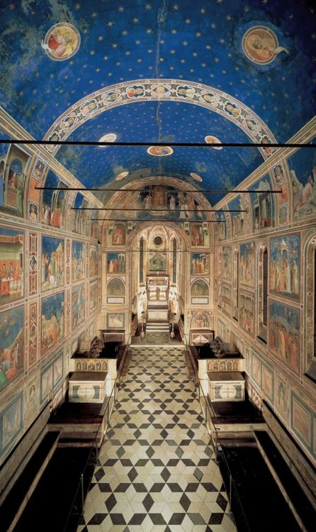 ✭✭ Cappella degli Scrovegni, also known as the Arena Chapel, is a church in Padua, Veneto, Italy. It contains a fresco cycle by Giotto, completed about 1305, ✭✭ Cappella degli Scrovegni, conosciuta anche come la Cappella Arena, è una chiesa di Padova, Veneto, Italia. Esso contiene un ciclo di affreschi di Giotto, completato circa 1305.