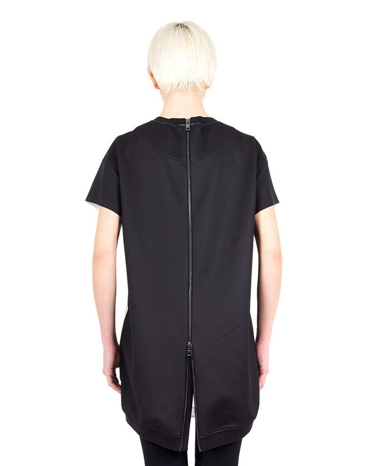 PORTS 1961 Black mini dress lined round neck raglan Print Andy Warhol asymmetric hem rear closure with zip 94% PL 6% Spandex Inserts: 100% SE Lining: 81% CO 17.5% PA 1.5% Spandex
