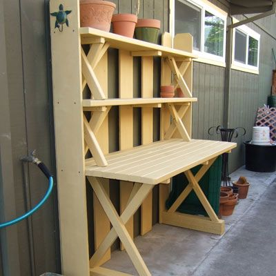 NOTE: Potting bench from picnic table & benches