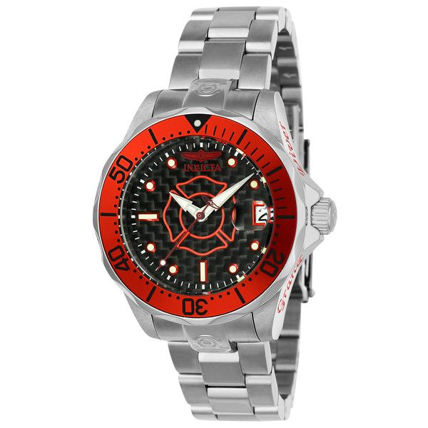 Women's Invicta Pro Diver Women's Stainless Steel Automatic Watch Red ($109) ❤ liked on Polyvore featuring jewelry, watches, black, jewelry & watches, women's watches, invicta wrist watch, red jewellery, black dial watches, invicta watches and stainless steel wrist watch
