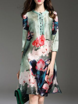 Green Floral-print Floral Casual Midi Dress