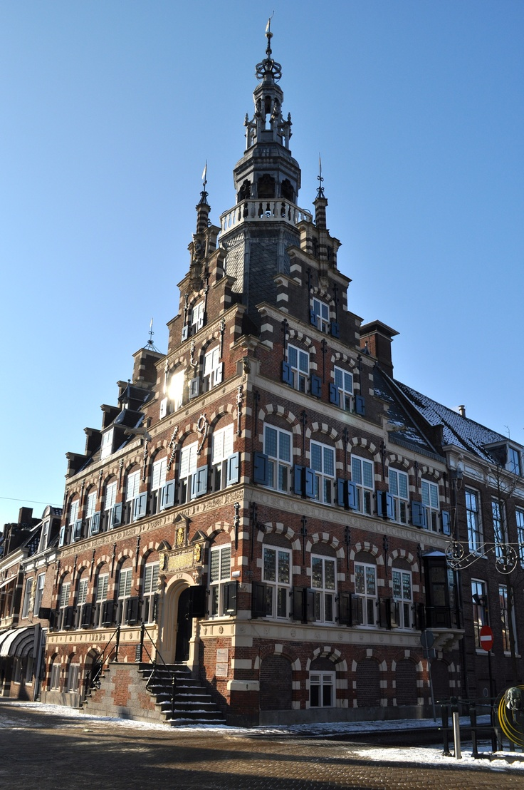 """The City Hall of Franeker, Friesland, the Netherlands. It was built between 1591-1594. This building was the inspiration for """"The Dutch House"""" in Brookline, Massachusetts: en.wikipedia.org/..."""