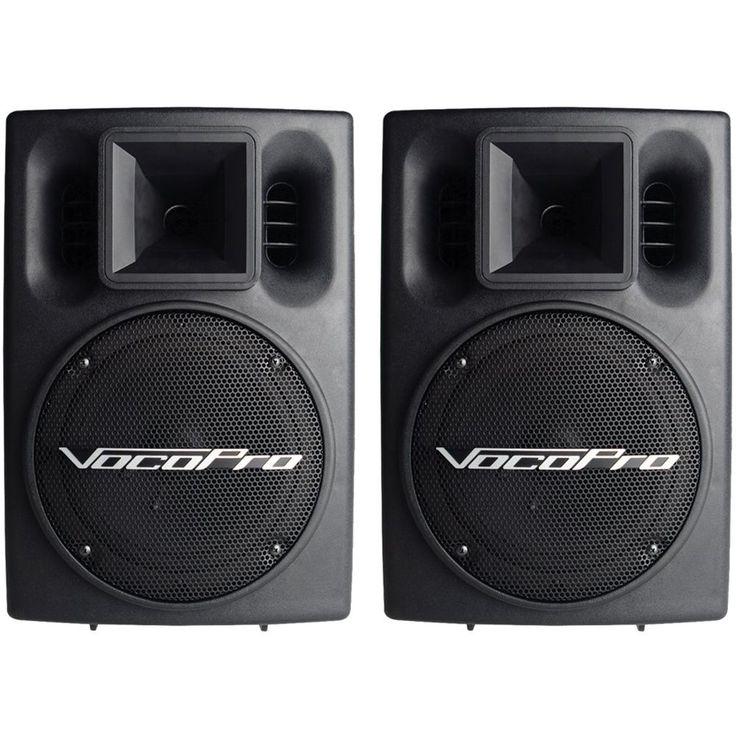 """VocoPro - 8"""" Powered Floor Speakers (Pair) - Black, PV-802"""