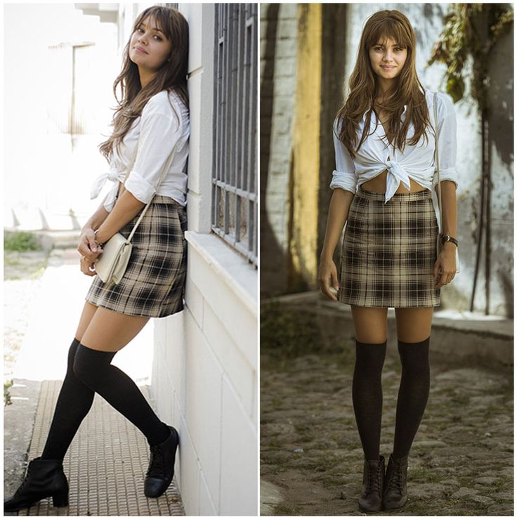 Sophie Charlotte Os Dias Eram Assim #shopiecharlotte #osdiaseramassim #vintage #look #xadrez #meia #camisa #minisaia #alice #moda