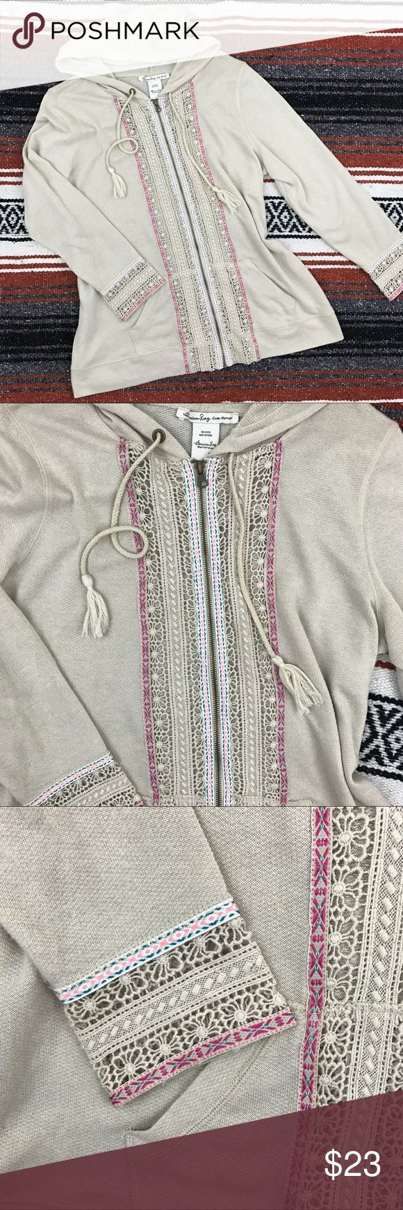 """American Rag Boho Crochet Lace Lightweight Zip Up Great closet staple for you boho beauties!  Size 1x Sleeve length 28"""" Armpit to armpit 21"""" Length 27""""  Preloved but still in great condition    **I list on multiple platforms, make me an offer before this listing is gone!** American Rag Tops Sweatshirts & Hoodies"""