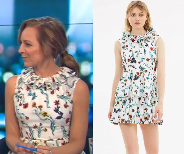 Carrie Bickmore wears this floral sleeveless mock neck mini dress in this episode of The Project on Monday November 6th, 2017. It is the LIFEwithBIRD Saratoga Dress.