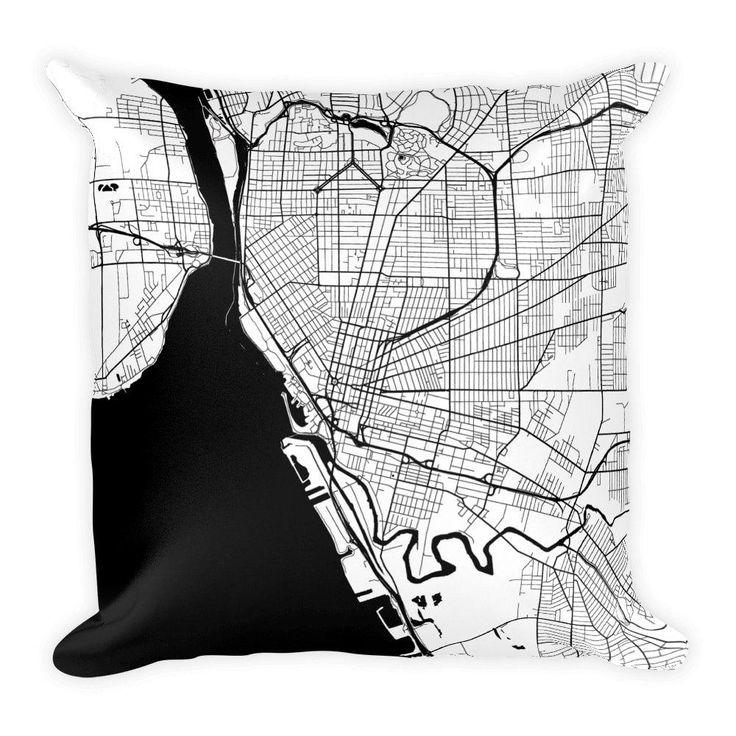 Buffalo Map Pillow – Modern Map Art
