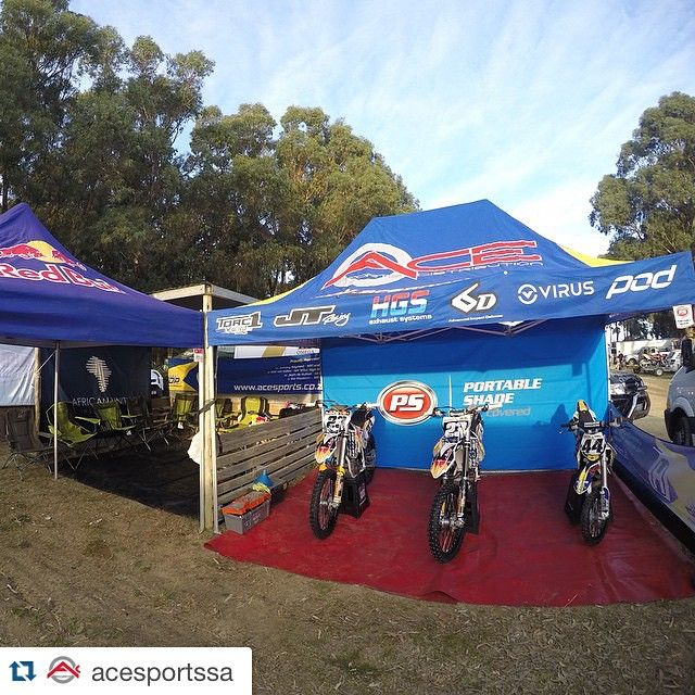 #Repost @acesportssa ・・・ Our pit setup at the Port Elizabeth MX national this past weekend. Thank you to all involved for the support!  #mx #motocross #southafrica #nationals #acesportssa #torc1racing #jtracing #hgsexhausts #6dhelmets #virus #compression #pod #kneebraces #portableshade #redbull #givesyouwings #husqvarna #team #racing #portelizabeth #growing #teamAce