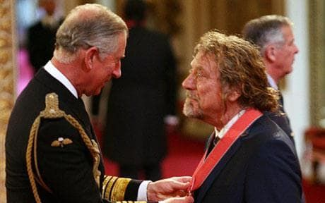 Led Zepplin's Robert Plant awarded CBE by Prince of Wales