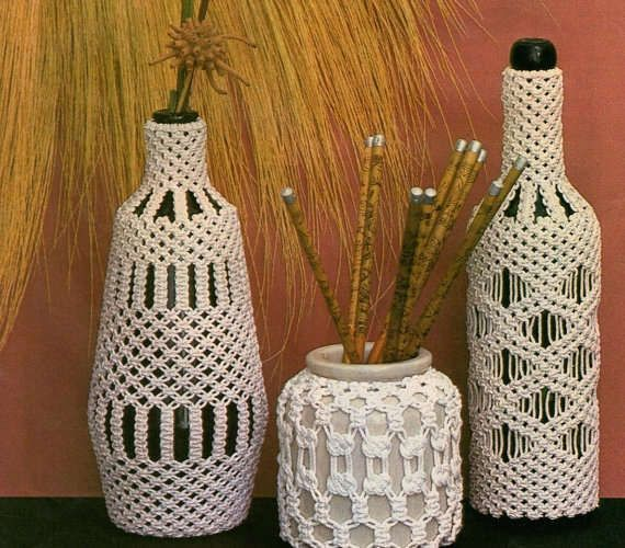 Image result for fee free, public domain decorative macrame bottles