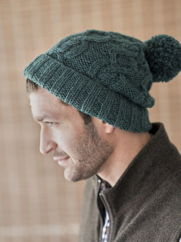 c8522d21 Berroco Heathcliff Men's Cabled Hat Knitting Pattern | Knitting for Guys