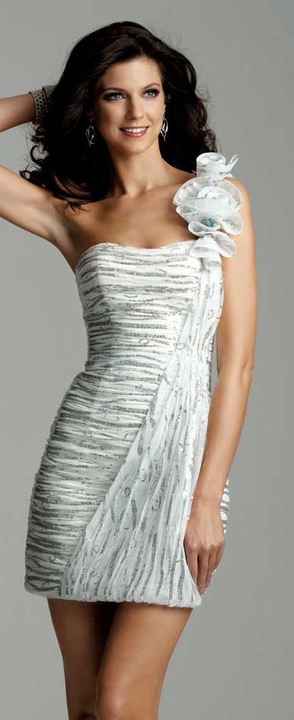 Clarisse White and Silver Dress