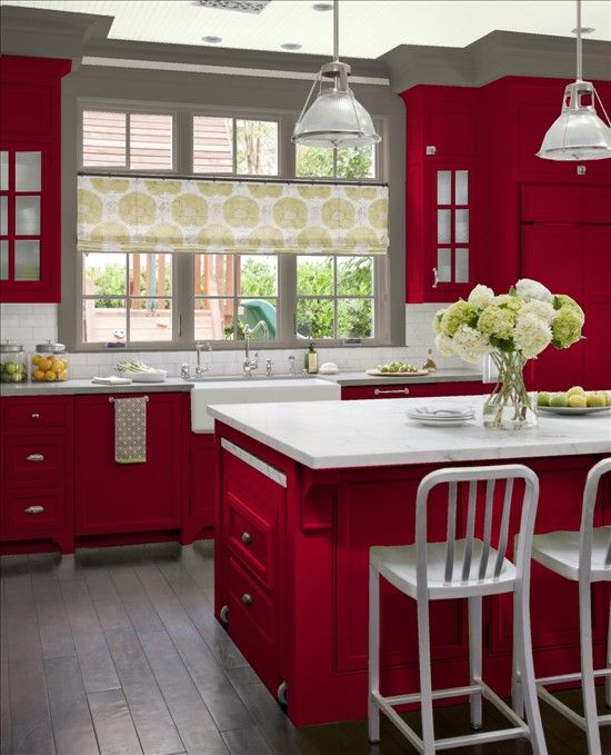 Gray And Red Champagneish Color Opposite This Gray Cupboards Red