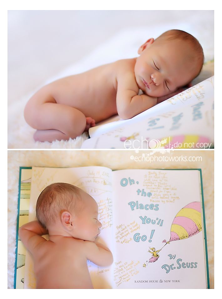 Newborn photo taken with the baby laying on the Oh, the Places You'll Go Dr. Suess book. I would love to do this and incorporate the boys in the pic too....time to get my thinking cap on.