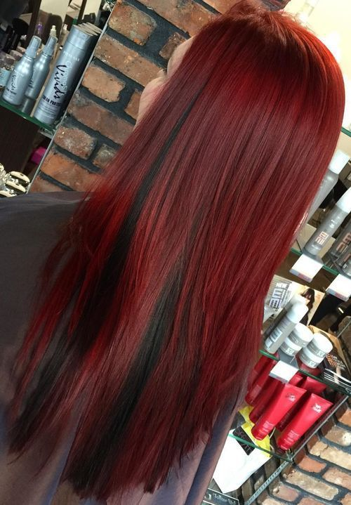 wine+red+hair+with+black+peek-a-boo+highlights
